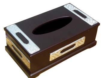 WOOD & SILVER <br>TISSUE BOX 00135.