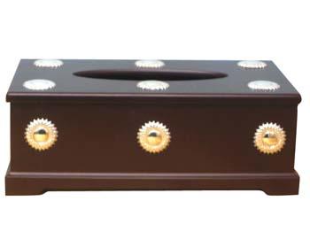 WOOD & SILVER <br>TISSUE BOX 00136.