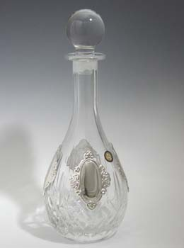 CRYSTAL & SILVER WINE DECANTER 1102-4.