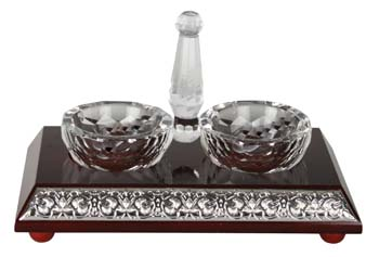 WOOD & SILVER CRYSTAL SALT DISH