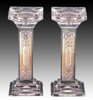 CRYSTAL & SILVER 23 cm CANDLE STICK 8630.