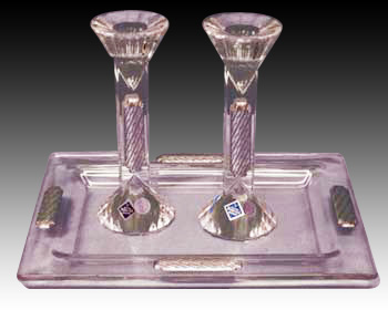 CRYSTAL & SILVER 16 cm CANDLE STICK & TRAY 8686.