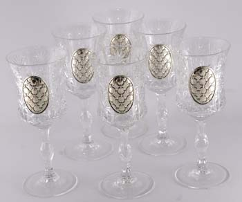 CRYSTAL & SILVER GOBLETS 9028.