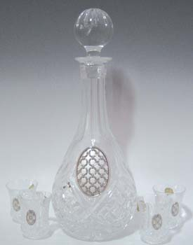 CRYSTAL & SILVER WINE DECANTER a25865-9021-6.
