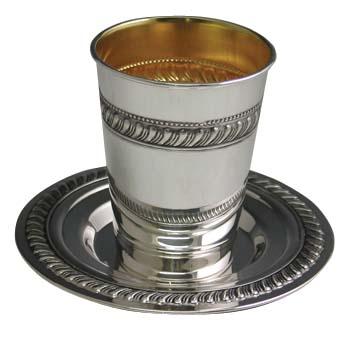 Sterling Silver <br>Kiddush Cup Set ssb02.