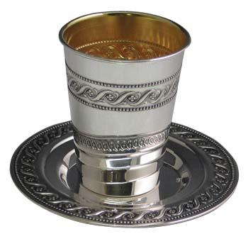 Sterling Silver <br>Kiddush Cup Set ssb03.